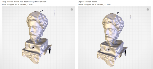 Vizup Optimization example | Marcus Aurelius Google Glass 3D scan | Compare reduced and original mobels